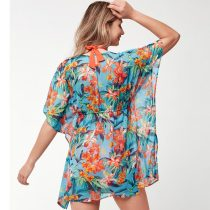 Deep V-neck Printed Chiffon Beach Blouse
