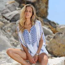 White Beach Tunic With Blue Embroidery