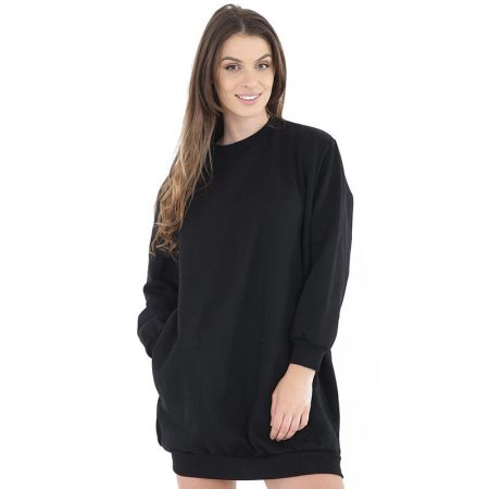 New Stylish Round Neck Long Sleeve Simple Plain Tunic Pullover Sweatshirt