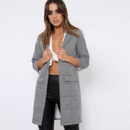 Women's Nine Points Sleeve Tailored Collar Open Front Long Thin Jacket Coat