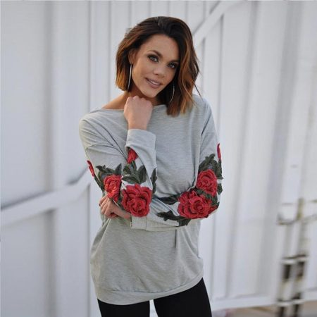 Round Neck Long Sleeve Regular Floral Sweatshirt