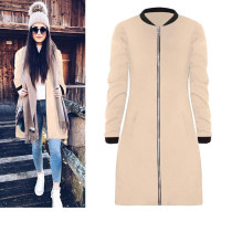 Fashion Solid Color Stand-up Collar Long Sleeves Trench Coat