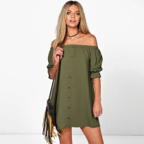 Casual Off The Shoulder Button Shift Dress