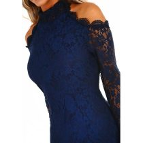 City Sass Navy Lace Cold Shoulder Long Sleeve Mini Dress