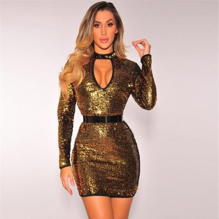 Deep V Slim Sequins Dress