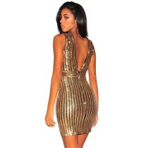 Gold Sequins V Neck Dress