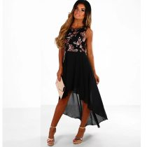 Love Angel Black And Rose Gold Sequin Chiffon Dip Hem Maxi Dress