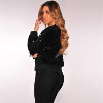 Black Sequins Bomber Jacket