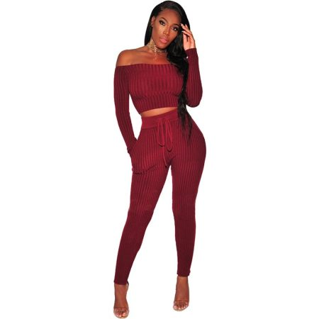 Wine Ribbed Knit Off Shoulder Two Piece Set