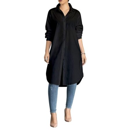 Fashion Full Solid Long Blouses & Shirts
