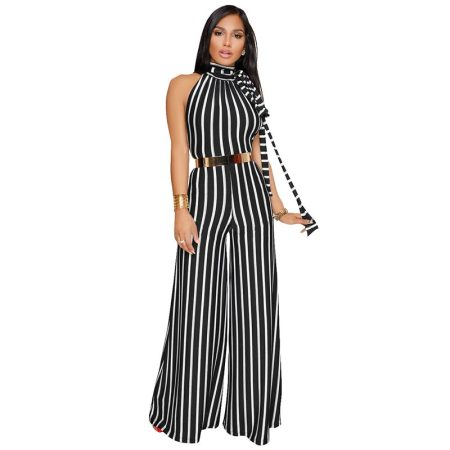 Stripes Halter Neck Jumpsuit Without Belt