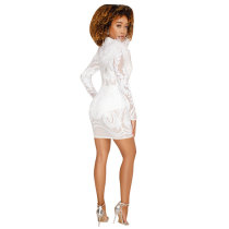 White Floral Sequin Grenadine Faux Fur Sparkly Clubwear Elegant Party Mini Dress