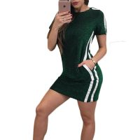 Leisure Sports Mini Dresses Neck With Pockets Dresses