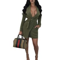 Womens Casual Wide Lapel Long Sleeves Trench Coat