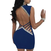 Shining Sexy Backless V-Neck Little Dress