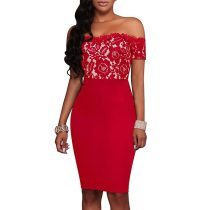 Red Strapless Lace Printed Dresses