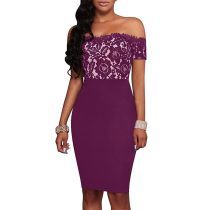 Purple Strapless Lace Printed Dresses