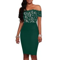 Green Straless Lace Printed Dresses