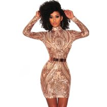 High Neck Sequins Club Dress With Long Sleeve