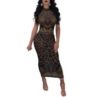 Digital Print Sleeveless Maxi Bodycon Dress