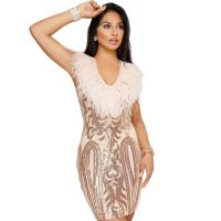 Women Sequins Feather Party Cocktail Dress