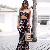 Halter Crop Top & Summer Beach Floral Skirts Two Piece Set