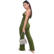 Women Straps Double-breasted Jumpsuit