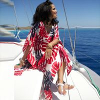 Printed Chiffon Bathing Suit Cover Up