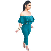 Flounced Off The Shoulder Suit Peplum Two Piece