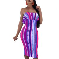 Sleeveless Colorful Stripped Sexy Tube Dress
