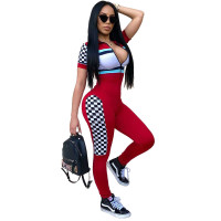 2 Colors Sexy Block Colors Zipped Sports Jumpsuit