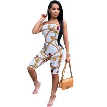 Chic Chain Print Casual Strapless Romper