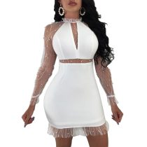 Cecilia White Pearl Mini Dress