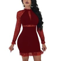 Cecilia Wine Red Pearl Mini Dress
