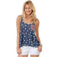 4th Of July Vintage Distressed USA Flag Racerback Women's Tank Top