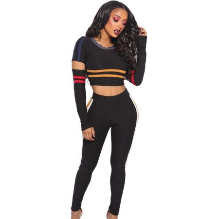 Black Strippes Ripped Crop Top and Pants