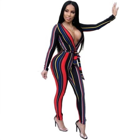 Colorful Sexy Strippes Deep-V Jumpsuit