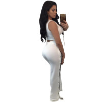 Sexy Women Double-breaste Sleeveless Crop Top And High Slit Pants