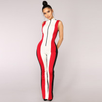 Push To Start Colorblock Jumpsuit - Black/Red