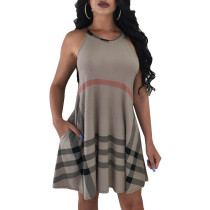 Sexy Asymmetric Hem Plaid Dress