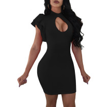 Irene Ruffle Sleeve Cutout Bodycon Dress