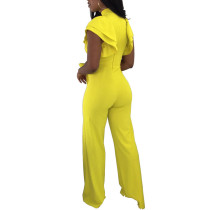 Irene Ruffle Sleeve Cutout Jumpsuit With  Wide Leg