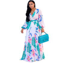 Long Sleeve Maxi Chiffon Wrap Dress