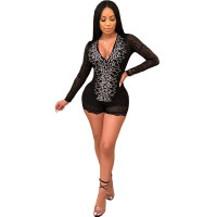 Sexy Black and Silver Fitting Lima Studded Rompers
