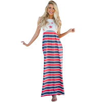Fashion Printed Waist Elastic American Flag Dress
