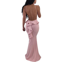 Sexy Backless Pink Evening Gown With Ruffles