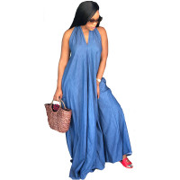 "The ""Denim Jean"" Overload Halter Dress"
