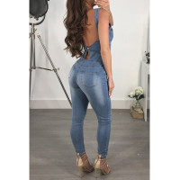 Wide Straps Front Zipped-Up Denim Jumpsuits