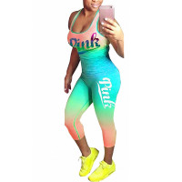 Green Gradient Casual Sporty Two Piece Set