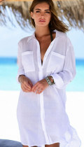 White Crinkle Twill Beach Shirt
